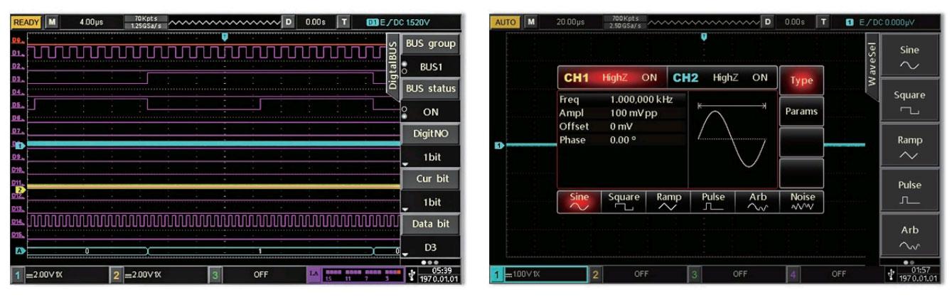 MSO3154E осциллограф с логическим анализатором и встроенным генератором.