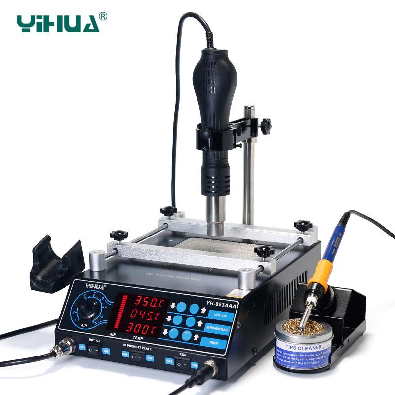 YIHUA-853AAA ремонтна станція 3 в 1: преднагреватель плат, термофен, паяльник