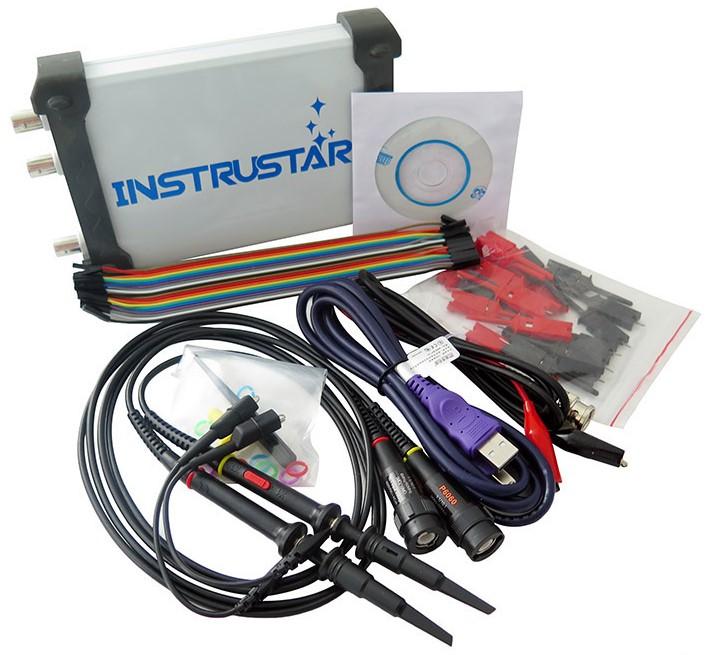 ISDS205X комплект поставки USB-осциллографа с генератором и логическим анализатором